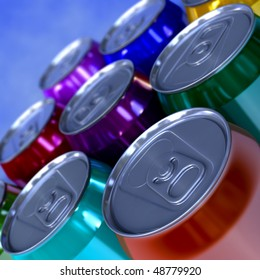 3d closeup of a lot of colorful soda and beer cans cans