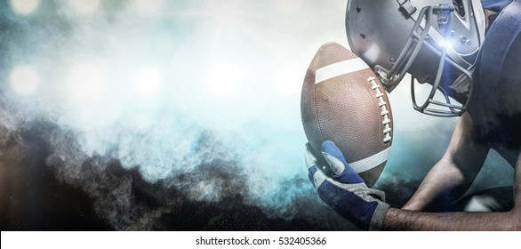3D Close-up of upset American football player with ball against digitally generated image of color powder