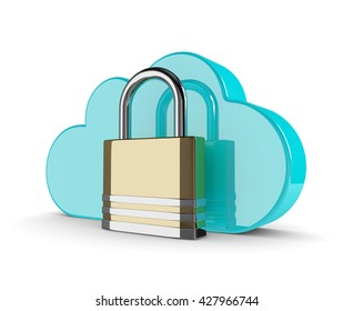 3d cloud with closed padlock isolated on white background. Data storage security concept.