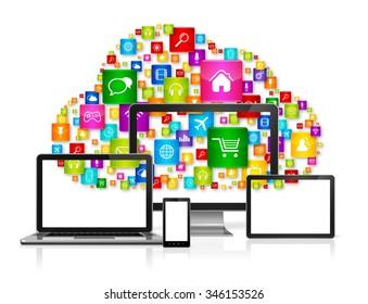 3D Cloud computing concept and computer set