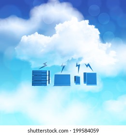 3d Cloud Computing diagram icon on blue sky background as concept