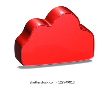 3D Cloud Red Sign on white background