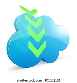 3d cloud storage download on white background