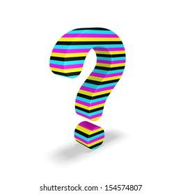 3d cmyk question mark