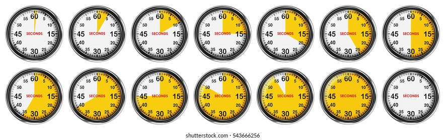 3d Collection Stopwatch. Set illustration of metallic stopwatch. The yellow color of the dial division.