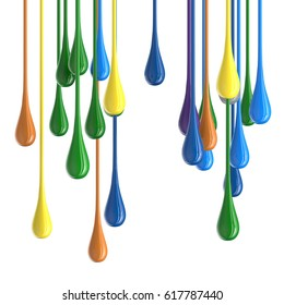 3D color glossy paint drop blobs isolated on white. 3D rendering