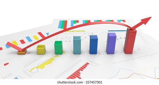 3d color graph with positive growth arrow