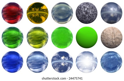 3d colored glass spheres isolated on white background,ideal for 3D symbols, signs or web buttons. They are spheres reflecting a blue sky with clouds