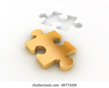 3d colored golden proper puzzle part