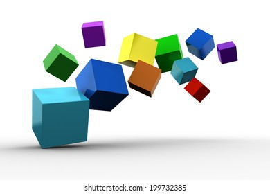 3d colourful cubes floating on white background