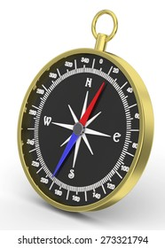 3D Compass on white Background