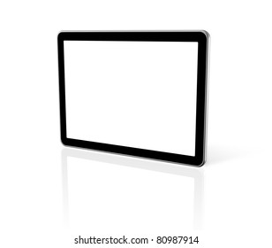 3D computer, digital Tablet pc,  tv screen, isolated on white with 2 clipping paths : one for screen and one for global scene