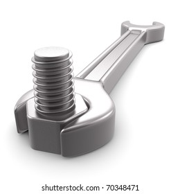 3d computer generated image of a wrench isolated on white background