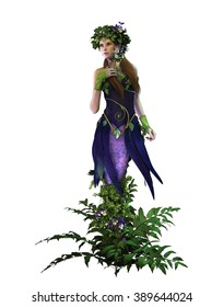 3d computer graphics of a fairy with pansies