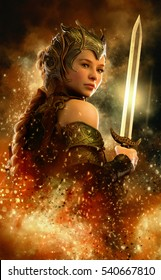 3D computer graphics of a female warrior with fantasy dress and sword