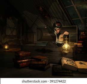 3d computer graphics of a girl with sugar skull makeup, a topper of her head and a lantern in her hand, sitting in a coffer