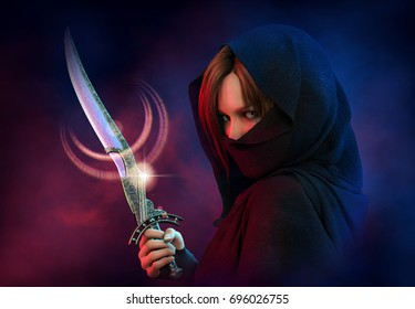 3d computer graphics of a  wrapped female assassin with a dagger
