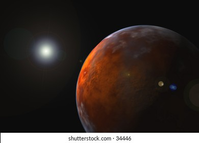 3D computer illustration of mars-like planet in space.