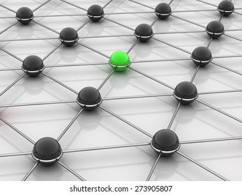 3D. Computer Network, Communication, Connection.