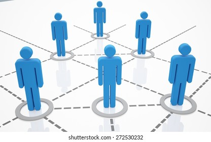 3D. Computer Network, Communication, People.