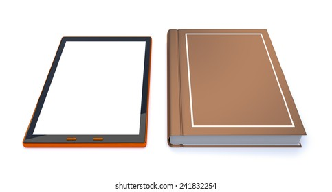 3d concept Digital Tablet and book