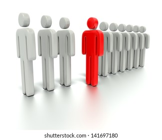A 3d concept graphic depicting a red person standing out from the crowd concept. Rendered against a white background with a soft shadow and reflection to enhance the 3D.