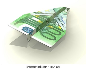 3d concept illustration of folded Euro note in a shape of paper airplane