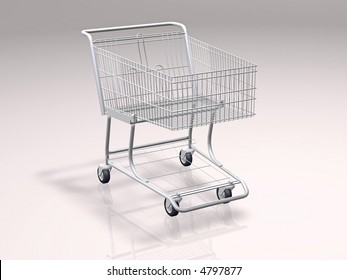 3d concept illustration of a shopping cart with reflection and shadows in background