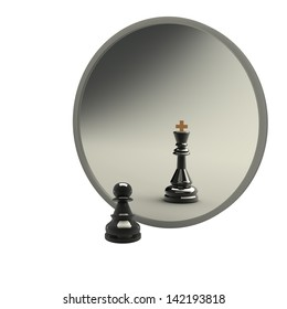 3d concept, reflected in the mirror of a pawn. white background