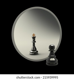 3d concept, reflected in the mirror of a pawn. black background