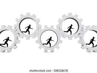 A 3d conceptual image about human figures in cogs. Great for articles, publications on using human beings as core force, humans working with machines etc...