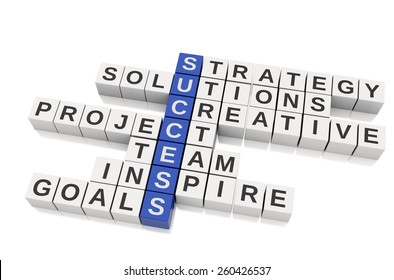 3d Conceptual image of success. Business Crossword. Isolated white background
