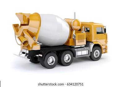 3d concrete mixer truck on white background