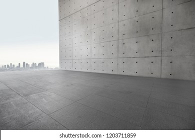 3D Concrete wall and parking lot