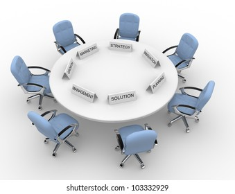 3d conference table - solution,management, marketing, strategy, promovation, planning