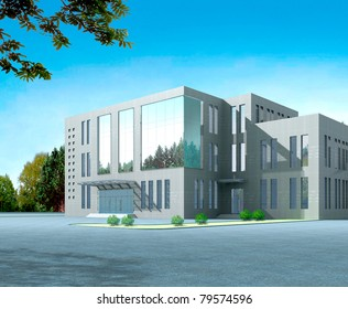 3d construction of office building. Concept - modern city, modern architecture and designing
