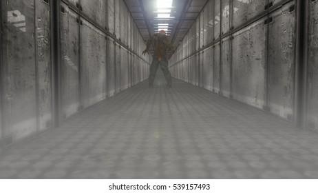 3d corridor and zombie