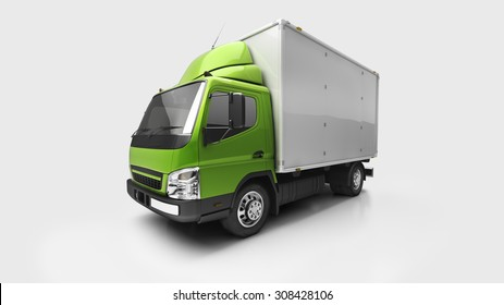 3d courier service delivery truck in studio
