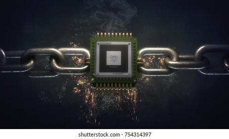 3d CPU on the steel chain. High resolution