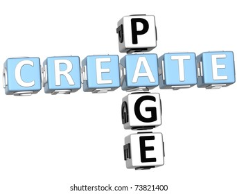 3D Create Page Crossword on white background