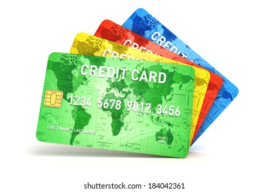 3d credit cards on white background