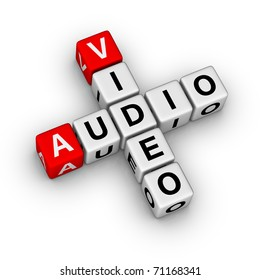 3d crossword audio and video store label