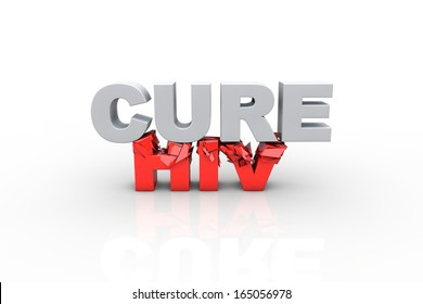 3d cure text breaking HIV text, over white background - Fight HIV concept