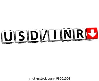 3D Currency USD INR rate concept symbol button on white background