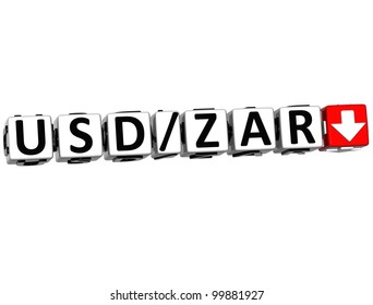 3D Currency USD ZAR rate concept symbol button on white background