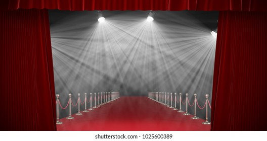 3d Curtains of red color against image of spotlight