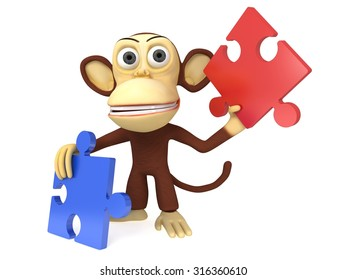 3d cute monkey with red and blue puzzle pieces. 3D render isolated on white.
