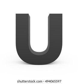 3d dark grey alphabet U, 3D rendering graphic isolated white background
