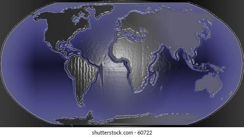 3D Dark nighttime map of the World