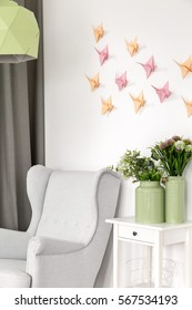 3d decoration- colorful paper origami crane on the wall